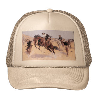 Cowboy Breaking Horse Remington 1893 Hat