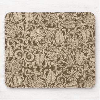 Cowboy Brown Tool Leather Print Mousepad