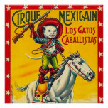 Cowboy Cat Mexican Circus Vintage Poster Art