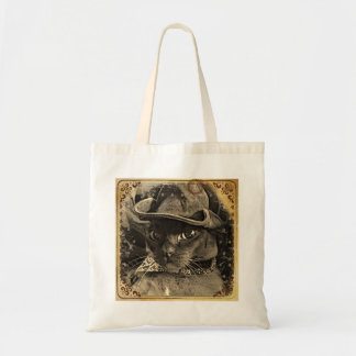 Cowboy Cat, sepia 4 Budget Tote Bag