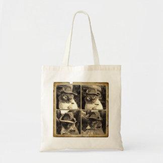 Cowboy Cat (Sepia filter), 4 Views Budget Tote Bag