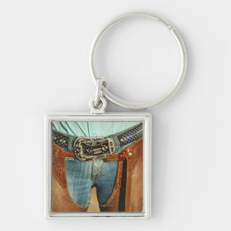 Cowboy chaps Silver-Colored square key ring