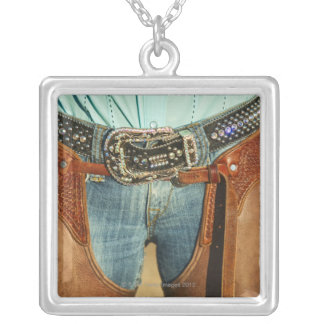 Cowboy chaps silver plated necklace