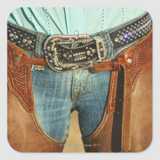 Cowboy chaps square sticker