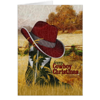Cowboy Christmas Country Western Boot and Hat Greeting Card