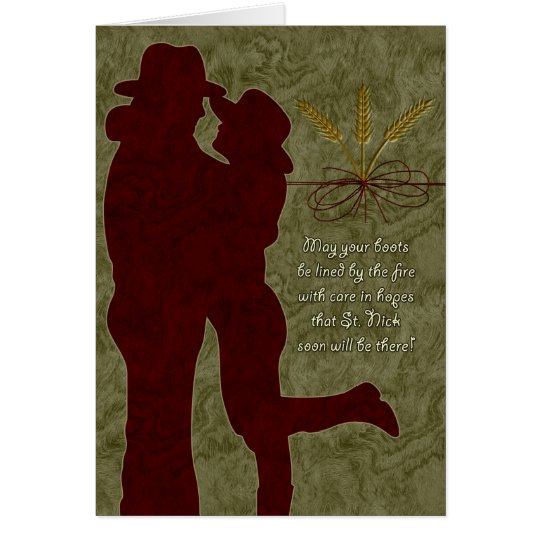 Cowboy Christmas Couple in an Embrace Card