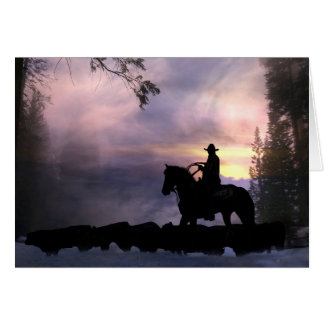 Cowboy Christmas Greeting from Across the Miles Greeting Card