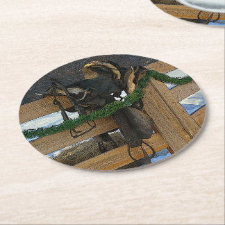 Cowboy Christmas Holiday Round Paper Coaster