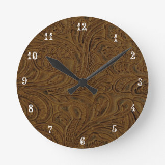 Cowboy Country Brown Tooled Leather Look Clock