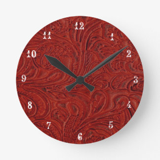 Cowboy Country Red Tooled Leather Look Clock