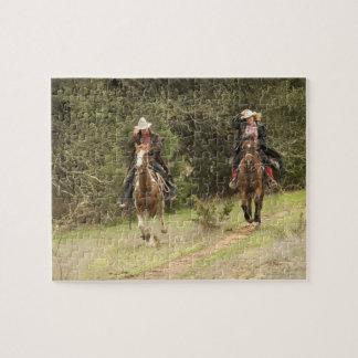 Cowboy couple riding horses puzzles