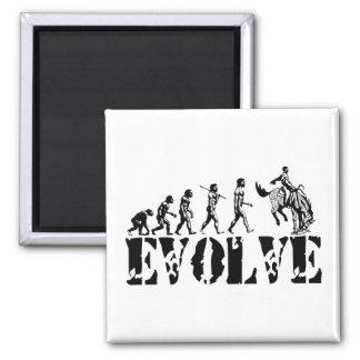 Cowboy Cowboys Rodeo Sport Evolution Art Square Magnet