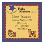 Cowboy & Cowgirl Baby Shower with Navy Custom Announcements