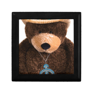 Cowboy Cowgirl Teddy Bear Western Turquoise Hat Small Square Gift Box