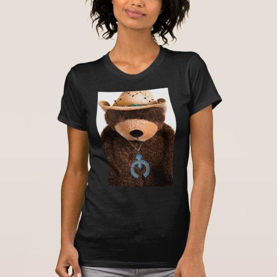 Cowboy Cowgirl Teddy Bear Western Turquoise Hat T-Shirt