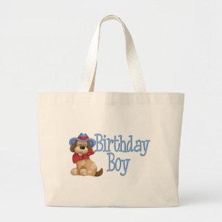 Cowboy Dog Birthday Boy Tote Bags