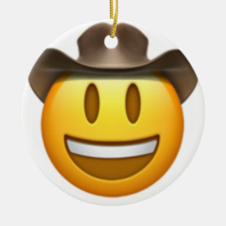 Cowboy emoji face christmas ornament