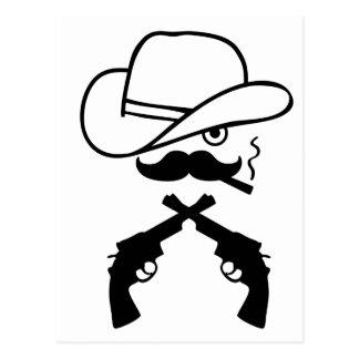 Cowboy face postcard