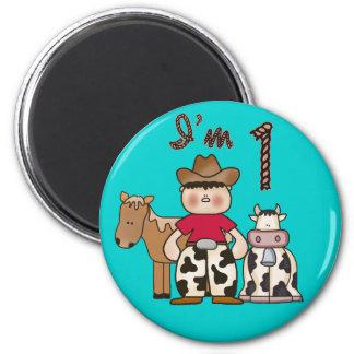 Cowboy  First Birthday 6 Cm Round Magnet