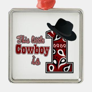 Cowboy First Birthday Christmas Ornament