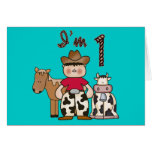 Cowboy First Birthday Invitation Greeting Card