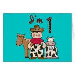 Cowboy First Birthday Invitation Note Card