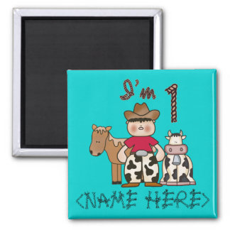 Cowboy First Birthday - Personalized - Customized Square Magnet