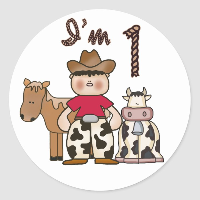 Cowboy  First Birthday Round Sticker