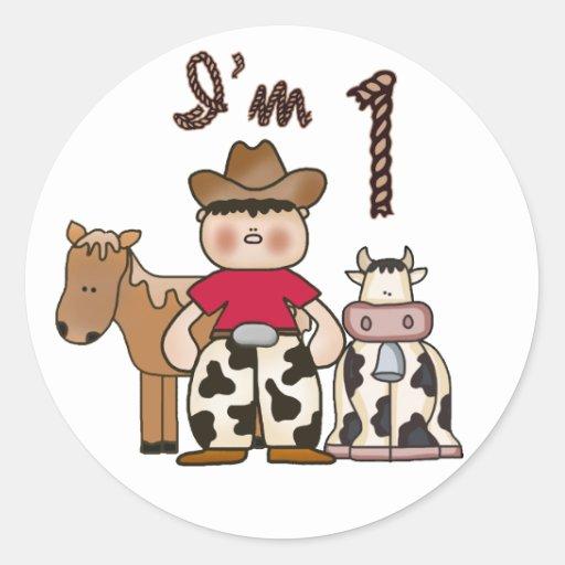 Cowboy  First Birthday Round Stickers