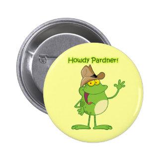 Cowboy Frog Waving Howdy 6 Cm Round Badge