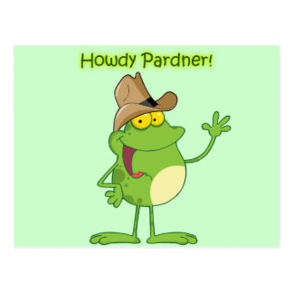 Cowboy Frog Waving Howdy Postcard