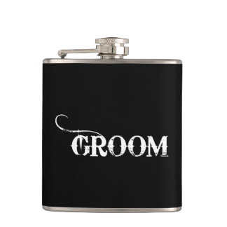 Cowboy Groom White on Black Flasks