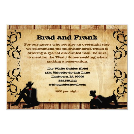 Cowboy Grooms Custom Gay Wedding Accommodations Card