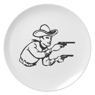 Cowboy Gunfight Party Plate