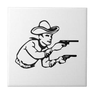 Cowboy Gunfight Ceramic Tile