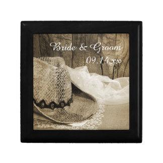 Cowboy Hat and Barn Wood Country Western Wedding Gift Box