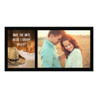 Cowboy Hat and Barn Wood Wedding Save the Date Personalized Photo Card