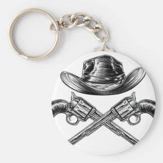 Cowboy Hat and Crossed Guns Basic Round Button Key Ring