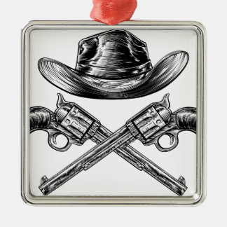 Cowboy Hat and Crossed Guns Silver-Colored Square Decoration
