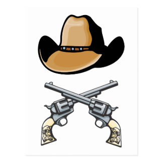 Cowboy Hat and Crossed Revolvers Postcard