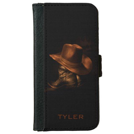 Cowboy Hat and Leather Boots Masculine Personalise iPhone 6 Wallet Case