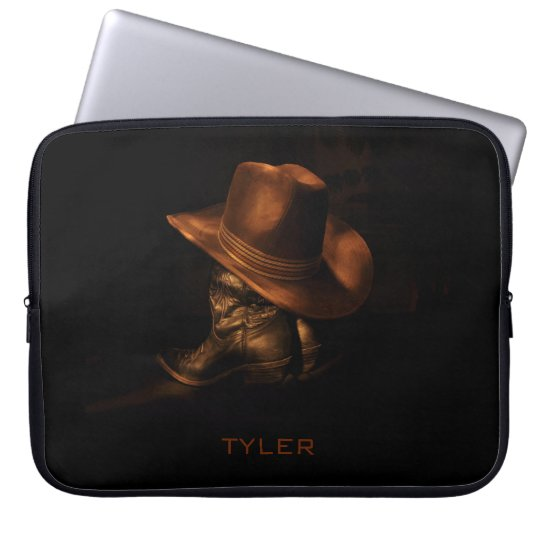 Cowboy Hat and Leather Boots Masculine Personalise Laptop Sleeve