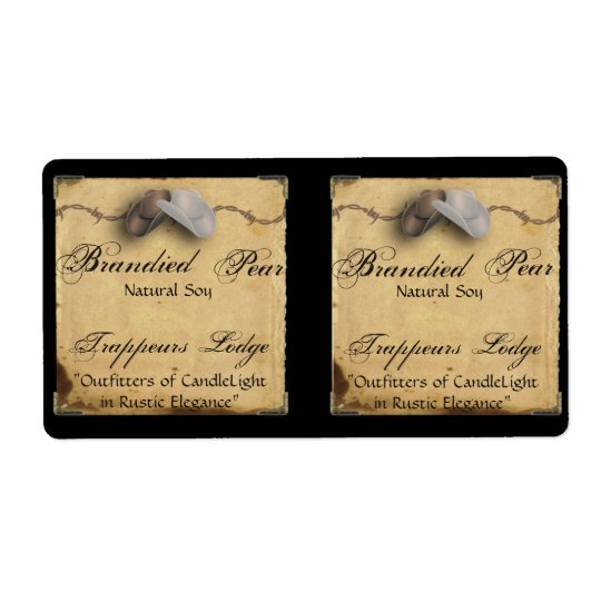 Cowboy Hat Barbed Wire on Parchment Candle Label