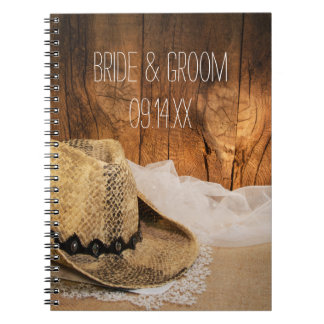 Cowboy Hat Barn Wood Country Wedding Notebook