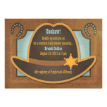 Cowboy Hat - Blue - Baby Shower Invitations