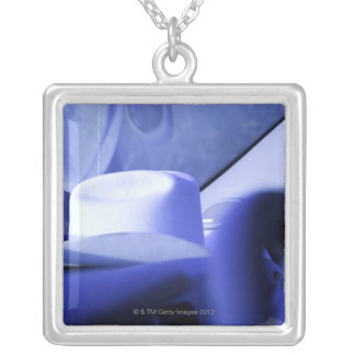 Cowboy Hat in Dashboard of Truck Silver Plated Necklace