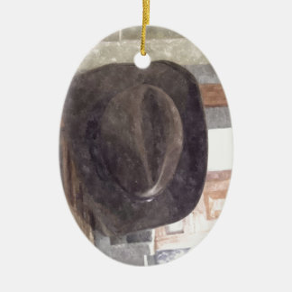 Cowboy Hat in Watercolor Ceramic Oval Decoration