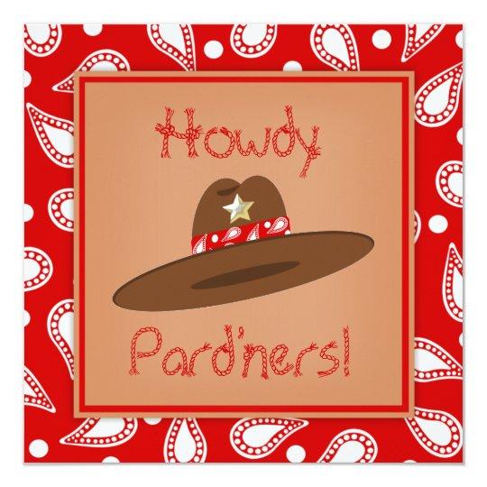 Cowboy Hat Red Paisley Bandanna Birthday Party Card
