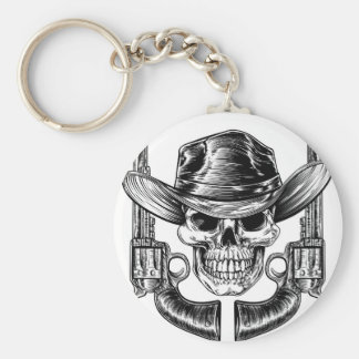 Cowboy Hat Skull and Pistols Basic Round Button Key Ring