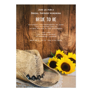 Cowboy Hat Sunflowers and Barn Wood Bridal Shower Cards